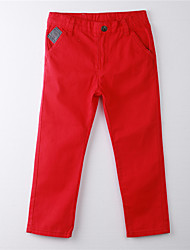 Girl's Solid Pants,Cotton Summer Red