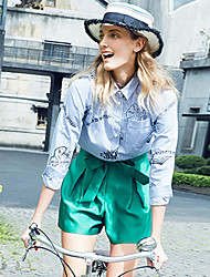 Goelia® Damen Hemdkragen Lange Ärmel Shirt & Bluse Blau-162F3E02A