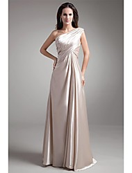 A-Line One Shoulder Floor Length Stretch Satin Prom Formal Evening Dress with Beading Pleats by TS Couture®