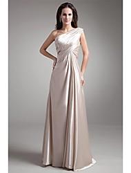 A-ligne one shoulder floor length stretch satin prom formelle robe de soirée avec plis plissé