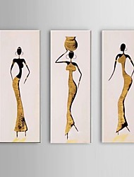 Hand-Painted African Women Oil Painting on Canvas 3pcs/set Wall Art Whit Frame