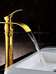 Centerset Single Handle One Hole in Ti-PVD Waterfall Gold-plated Bathroom Sink Faucet