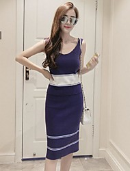 Women's Striped Blue Vest,Street chic Sleeveless