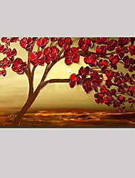 растянуты (готов повесить) ручной росписью маслом Луна красный цветок цветы дерево жизни стены искусства