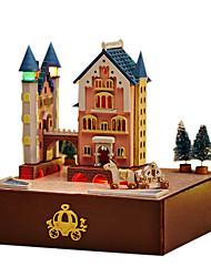 chi divertido DIY casa castelo novo conjunto rotativo transporte cabana manualmente caixa de música dom Dia dos Namorados para enviar as