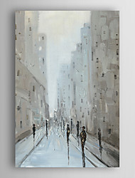 Hand Painted Oil Painting Landscape People walking in City street with Stretched Frame 7 Wall Arts®