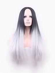 Europa e no inclinação cinzento de cabelos lisos peruca longa de seda de alta temperatura de 26 polegadas