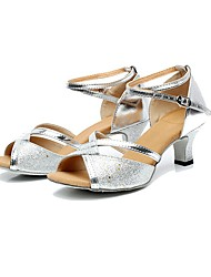 Women's Dance Shoes Libo New Style Hot Sale Latin / Jazz Cuban Heel Black / Silver / Gold Dance Sandals