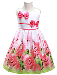 Girl's Pink / Yellow Dress Polyester Summer