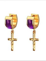 WOMEN Stainless Steel purple  Hoop Earrings