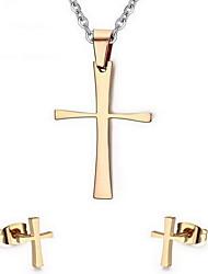 Women's Cross Style Stainless Steel Necklace Earrings Jewelry Set