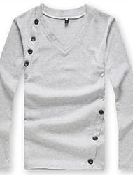 Men's Solid Casual Shirt,Cotton Long Sleeve Black / White / Gray
