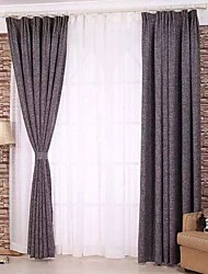 Two Panels European Solid Linen Polyester Blend Panel Curtains Drapes