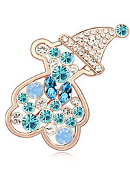 High Quality Crystal Bear Brooch for Wedding Party Lady