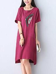 Women's Beach Simple / Street chic Loose Dress,Print Round Neck Knee-length Short Sleeve Red / Green Linen Summer