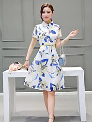 Women's Vintage Print A Line Dress,Shirt Collar Knee-length Polyester