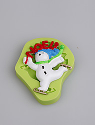Christmas Noel Ice Skating Snowman Fondant Silicone Mould for Cake Decorating Cupcake Candy Chocolate Clay Fimo Resin