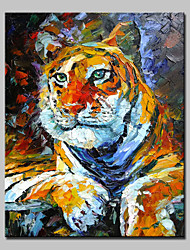 Large Hand-Painted Animal Tiger King Modern Oil Painting On Canvas One Panel With Frame Ready To Hang
