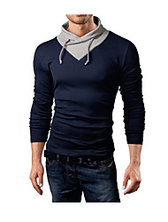Men's Fashion Splicing Collar Design Slim Fit Casual Long Sleeve T-Shirt, Cotton /Polyester/Casual