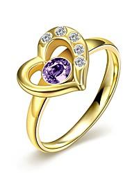 Fashion Delicate Unisex's Heart-Shaped Purple Zircon Gold-Plated Titanium Steel Couple Rings(Golden,Black)(1Pc)