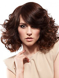 12 inch Women Short Body Wave Synthetic Hair Wig Dark Brown with Free Hair Net