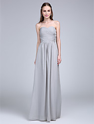Lanting Bride Floor-length Chiffon Bridesmaid Dress A-line Strapless / Sweetheart with Criss Cross