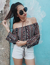 Women's Color Block / Print Casual Boat Neck Slim Off Shoulder Flare Sleeve T-shirt