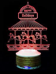 alto-falantes sem fio Bluetooth 3D colorido luz noite carrossel