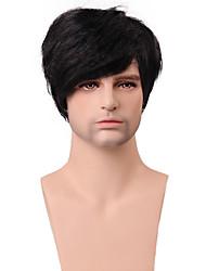 100% capello umano bel uomo basso acconciatura parrucca diritta