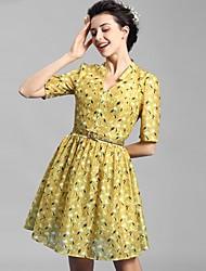 Baoyan® Damen V-Ausschnitt 1/2 Ärmel Midi Kleid-160113