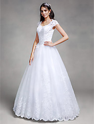 Ball Gown Wedding Dress - White Floor-length Queen Anne Satin / Tulle