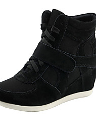 Women's Spring Summer Fall Winter Comfort Leather Tulle Outdoor Casual Athletic Wedge Heel Magic Tape Lace-up Black