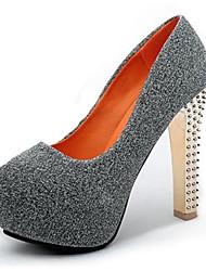 Черный / Синий / Серый-Женский-На каждый день-Флис-На толстом каблуке-На каблуках-Обувь на каблуках