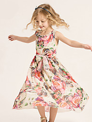 Girl's Green / Pink Dress,Floral Cotton / Polyester Summer / Spring
