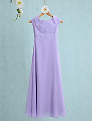 LAN TING BRIDE Floor-length Chiffon Junior Bridesmaid Dress Sheath / Column Jewel with Buttons