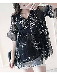 Maternity V Neck Ruffle Blouse,Rayon ½ Length Sleeve