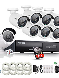 ANNKE® 8CH CCTV NVR System POE NVR 1080P Video Ourput 1080p 2.0W Weatherproof CCTV IP Camera Security System 2TB HDD