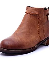Calçados Femininos-Botas-Botas da Moda-Rasteiro-Preto / Amarelo-Couro Ecológico-Casual