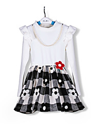 Fashion White Kids Plaid/Floral Dress Long Sleeve Pirncess Girls Spring/Autumn  Dresses For 2~7Y Girl Flower Vestidos