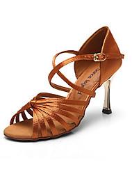 Non Customizable Women's Dance Shoes Leather Leather Latin Heels Stiletto Heel Beginner / Professional Gold