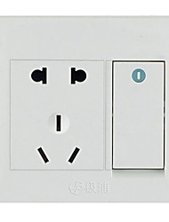 An Open Five-Hole Dual Control Home Wall Socket Wall Switch