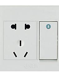 um interruptor aberto cinco buracos duplo controlo de parede tomada doméstica