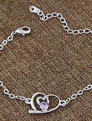 Women's European Style Fashion Sweet Sparkling Diamond Heart Chain Bracelets
