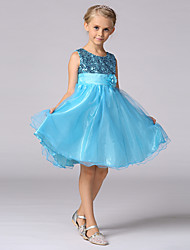 A-line Knee-length Flower Girl Dress - Satin Tulle Sequined Jewel with Bow(s) Flower(s) Sash / Ribbon Sequins