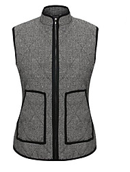 Women's Casual/Daily Plus Size / Street chic Slim Fall Quilted Herringbone Puffer Jackets,Color Block Stand Sleeveless