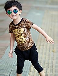 Boy's  Cotton Summer Fashion Leopard Print Printing T-shirt Hallen Trousers Two-Piece Set