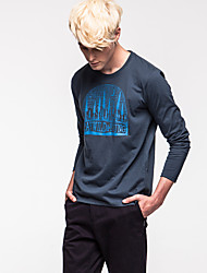 Kon® Da uomo Rotonda Maniche lunghe Maglietta Blu scuro-K15M-TS0140