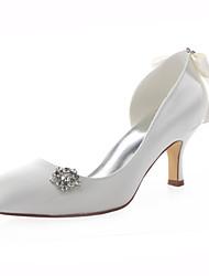 Women's Shoes Stretch Satin Spring / Summer / Round Toe Heels Wedding /  Dress Stiletto HeelCrystal /