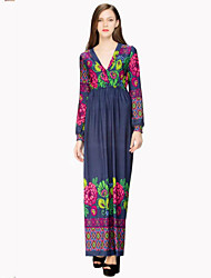 Women's Holiday / Plus Size Boho Swing Dress,Print Deep V Maxi Long Sleeve Blue Cotton / Polyester Summer