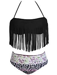 Damen Bikinis - Quasten / Einfarbig Polyester / Elasthan Halfter